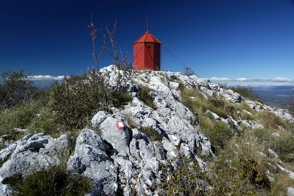 'Vickov Stup' shelter (Vicko's Column') on the Mosor mountain, Croatia.