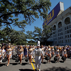 Oct 2, 2010; Baton Rouge, LA, USA; The LSU Tiger Band performs during the march down Victory Hill prior to kickoff of a game between between the LSU Tigers and the Tennessee Volunteers at Tiger Stadium.  Mandatory Credit: Derick E. Hingle