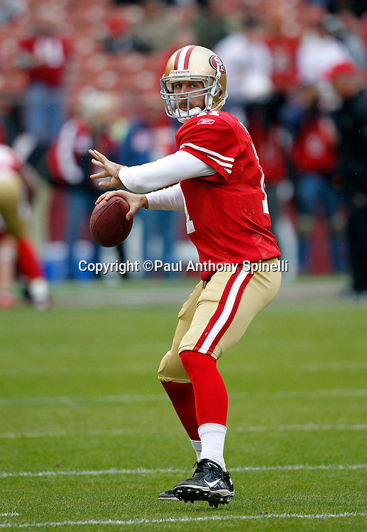 San Francisco 49ers quarterback Alex Smith (11) throws a pregame pass during the NFL week 17 football game against the Arizona Cardinals on Sunday, January 2, 2011 in San Francisco, California. The 49ers won the game 38-7. (©Paul Anthony Spinelli)