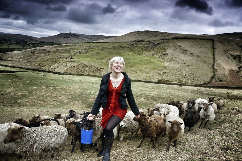 Beate with sheep on hills above Hebden Bridge