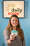 Bright and fruity blue moon ice cream served at the Daily Scoop. Babcock ice cream is offered at the Daily Scoop locations at both Memorial Union and Union South. This student enjoys the ice cream in 2013.