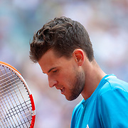 PARIS, FRANCE June 09.  Dominic Thiem of Austria during his loss against Rafael Nadal of Spain on Court Philippe-Chatrier during the Men's Singles Final at the 2019 French Open Tennis Tournament at Roland Garros on June 9th 2019 in Paris, France. (Photo by Tim Clayton/Corbis via Getty Images)