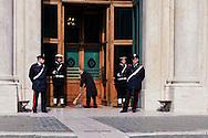 Roma 16 Marzo2013.Montecitorio, secondo giorno della  XVII legislatura..Un addetto pulisce l'ingresso  della Camera dei Deputati .