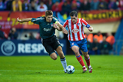 MADRID, SPAIN - Wednesday, October 22, 2008: Liverpool's captain Steven Gerrard MBE and Club Atletico de Madrid's Antonio Lopez during the UEFA Champions League Group D match at the Vicente Calderon. (Photo by David Rawcliffe/Propaganda)