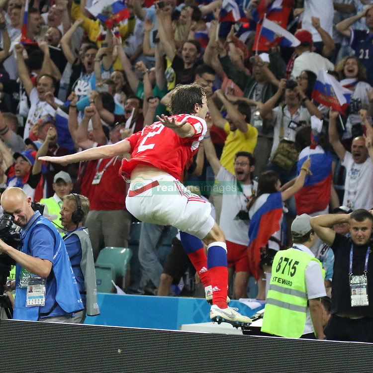 July 7, 2018 - Sochi, Russia - July 07, 2018, Sochi, FIFA World Cup 2018, the playoff round. 1/4 finals of the World Cup. Football match Russia - Croatia at the stadium Fisht. Player of the national team Mario Fernandez. (Credit Image: © Russian Look via ZUMA Wire)