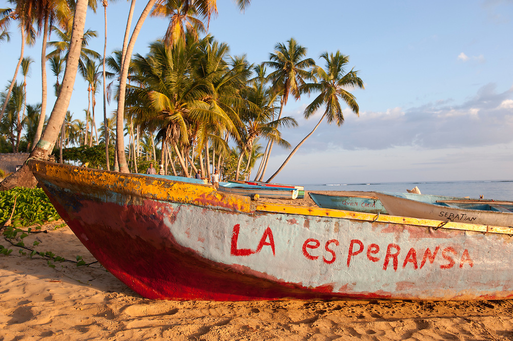 Fishing boats,Palm Trees and the beach,Las Terrenas,Samana,Dominican Republic,Caribbean