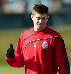 LIVERPOOL, ENGLAND - Wednesday, March 10, 2010: Liverpool's captain Steven Gerrard MBE training at Melwood Training Ground ahead of the UEFA Europa League match against LOSC Lille Metropole. (Photo by David Rawcliffe/Propaganda)