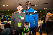 Player sponsors Forest Green Rovers Isaiah Osbourne(34) during the EFL Sky Bet League 2 match between Forest Green Rovers and Crawley Town at the New Lawn, Forest Green, United Kingdom on 24 February 2018. Picture by Shane Healey.