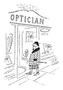 (Man in extraordinary dress entering opticians)