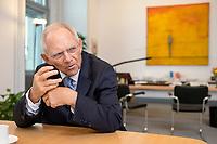 06 NOV 2019, BERLIN/GERMANY:<br /> Wolfgang Schaeuble, CDU, Bundestagspraesident, waehrend einem Interview, in seinem Buero, Reichstagsgebaeude, Deutscher Bundestag<br /> IMAGE: 20191106-02-022<br /> KEYWORDS: Wolfgang Schäuble
