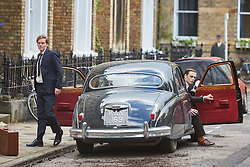 © Licensed to London News Pictures. 19/05/2015. OXFORD, UK. Filming of ITV drama Endeavour, telling the story of the early life of Inspector Morse, taking place in Wellington Square in Oxford.<br /> <br /> In this picture: Shaun Evans (left)(who plays Endeavour Morse) and Jack Laskey (right in car) (who plays DS Peter Jakes)<br /> <br /> Photo credit : Cliff Hide/LNP
