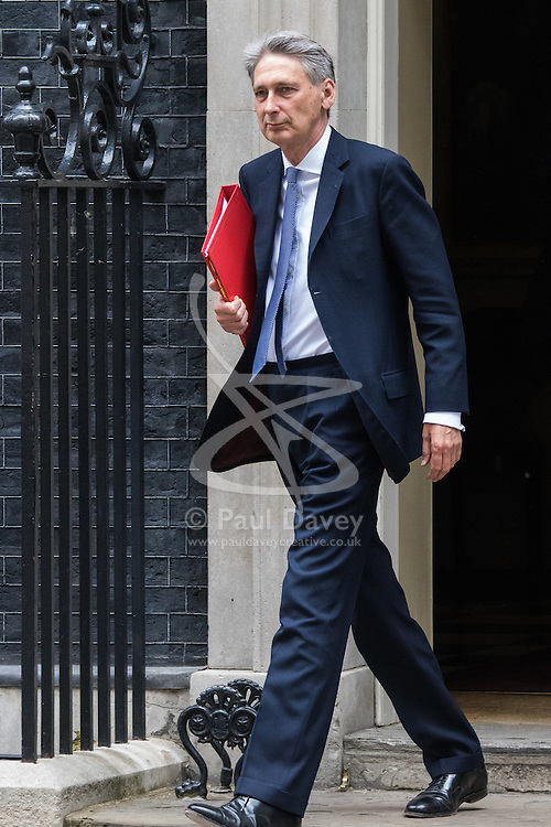 Downing Street, London, June 9th 2015. Foreign Secretary, Philip Hammond leaves 10 Downing Street following the weekly meeting of the Cabinet.