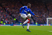 Sheyi Ojo of Rangers FC controls the ball on his thigh  during the Betfred Scottish League Cup semi-final match between Rangers and Heart of Midlothian at Hampden Park, Glasgow, United Kingdom on 3 November 2019.