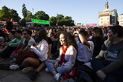 June 15, 2018 - Porto, Portugal - Portugal Fans party during the first game of Portugal in the world cup on June 15, 2018. Many people watching the game in the square of the Porto, Portugal. The match finished 3-3. (Credit Image: © Rita Franca/NurPhoto via ZUMA Press)
