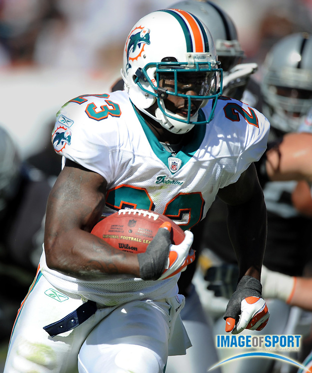 Nov 16, 2008; Miami, FL, USA; Miami Dolphins Dolphins running back Ronnie Brown (23) heads up field during the Dolphins 17-15 victory over the Oakland Raiders at Dolphin Stadium.