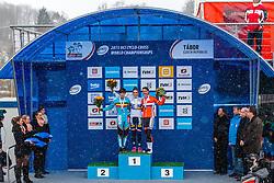 Podium: 1st Pauline Ferrand Prevot (FRA), 2nd Sanne Cant (BEL) & 3rd Marianne Vos (NED), Women Elite, Cyclo-cross World Championships Tabor, Czech Republic, 31 January 2015, Photo by Pim Nijland / PelotonPhotos.com