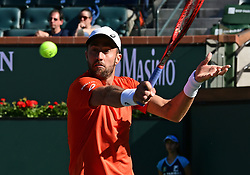 March 8, 2019 - Indian Wells, CA, U.S. - INDIAN WELLS, CA - MARCH 08: Steve Johnson (USA) gets ready to hit the ball in the first set of a match during the BNP Paribas Open played at the Indian Wells Tennis Garden in Indian Wells, CA. (Photo by John Cordes/Icon Sportswire) (Credit Image: © John Cordes/Icon SMI via ZUMA Press)