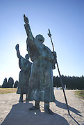 Bronze statue of Pilgrims on Monte do Gozo, or Hill of the Joy, last hill overlooking Santiago de Compostela, Galicia, Spain