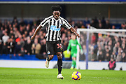 Newcastle United Midfielder Christian Atsu in action during the Premier League match between Chelsea and Newcastle United at Stamford Bridge, London, England on 12 January 2019.