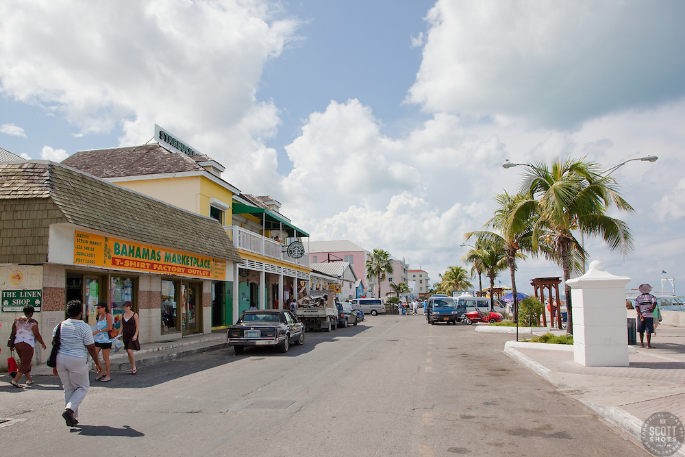 Prince George Wharf, Nassau, in the Bahamas. This is a popular shopping area.