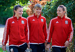 NEWPORT, WALES - Friday, August 31, 2018: Wales' Helen Ward, Gemma Evans and Kayleigh Green during a pre-match team walk ahead of the FIFA Women's World Cup 2019 Qualifying Round Group 1 match between Wales and England. (Pic by David Rawcliffe/Propaganda)