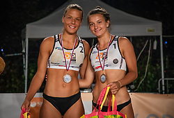 Female 2nd Tajda Lovsin and Nina Lovsin  on Beach volley National Championship of Slovenia  on July 20, 2019 in Kranj, Slovenia. Photo by Urban Meglic / Sportida