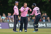 Middlesex batsman Paul Stirling celebrates the wicket of Hampshire all-rounder Gareth Andrew during the NatWest T20 Blast South Group match between Middlesex County Cricket Club and Hampshire County Cricket Club at Uxbridge Cricket Ground, Uxbridge, United Kingdom on 27 May 2016. Photo by David Vokes.