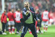 Steve Cotterill celebrates Bristol City's injury time equaliser  during the Sky Bet Championship match between Bristol City and Leeds United at Ashton Gate, Bristol, England on 19 August 2015. Photo by Shane Healey.