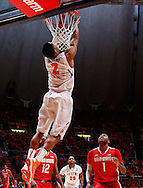 CHAMPAIGN, IL - JANUARY 05: Joseph Bertrand #2 of the Illinois Fighting Illini dunks the ball against the Ohio State Buckeyes at Assembly Hall on January 5, 2013 in Champaign, Illinois. Ilinois defeated Ohio State 74-55. (Photo by Michael Hickey/Getty Images) *** Local Caption *** Joseph Bertrand