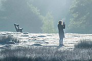 UNITED KINGDOM, London: 12 May 2020 <br /> A walker makes her way through a frosty Richmond Park early this morning. The weather in the capital, although starting sunny and cold today, is set to be cloudy for the rest of the week.