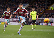 Andre Gray of Burnley (2nd left) scores a penalty to make it 1-1 during the Sky Bet Championship match at Turf Moor, Burnley<br /> Picture by Russell Hart/Focus Images Ltd 07791 688 420<br /> 22/11/2015