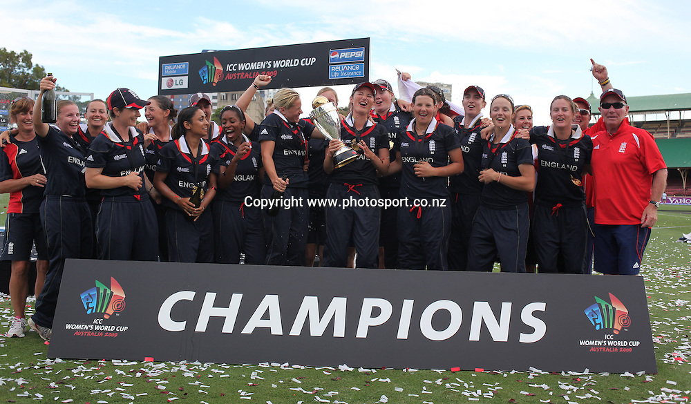 Sydney-22 March: England celebrate victory in the ICC Women's World Cup Cricket final between New Zealand and England at North Sydney Oval, Sydney, Australia from March 22, 2009. England won the final by four wickets. Photo by Tim Clayton.