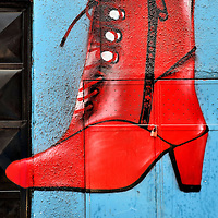 Woman's Red High Heel Boot Mural in Arica, Chile<br />