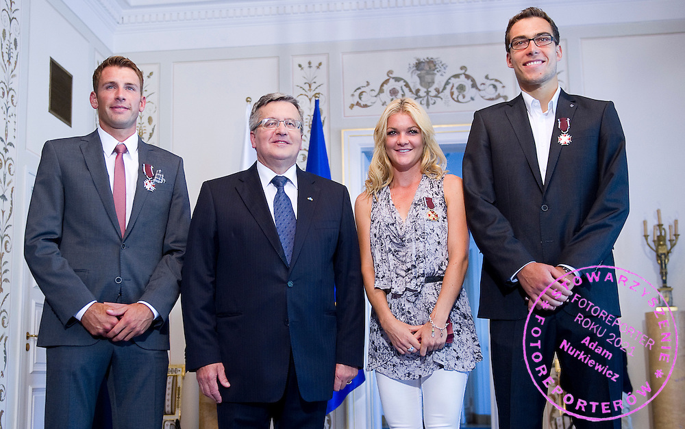 (L-R) Lukasz Kubot and Bronislaw Komorowski - President of Poland and Agnieszka Radwanska and Jerzy Janowicz pose to picture during meeting in Belvedere Palace in Warsaw, Poland.<br /> <br /> Poland, Warsaw, July 08, 2013<br /> <br /> Picture also available in RAW (NEF) or TIFF format on special request.<br /> <br /> For editorial use only. Any commercial or promotional use requires permission.<br /> <br /> Photo by &copy; Adam Nurkiewicz / Mediasport