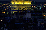 France. Paris. elevated view.  Paris; The Arc de triomphe. view from the Saint Pierre de Chaillot  church