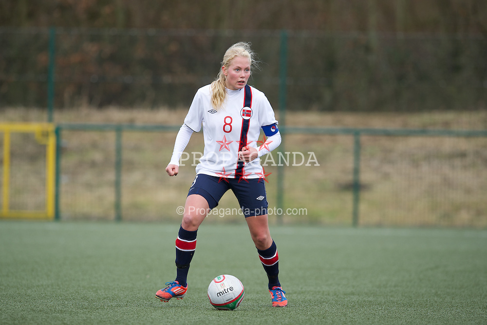 OSWESTRY, ENGLAND - Sunday, February 3, 2013: Norway's Guro Bergsvand in action against Wales during the Women's Under-19 International Friendly match at Park Hall. (Pic by David Rawcliffe/Propaganda)