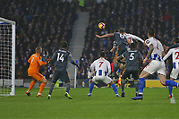 Football - 2018 / 2019 Premier League - Brighton and Hove Albion vs. Leicester City<br /> <br /> Glenn Murray of Brighton heads past Kasper Schmeichel of Leicester City to open the scoring at The Amex Stadium Brighton <br /> <br /> COLORSPORT/SHAUN BOGGUST