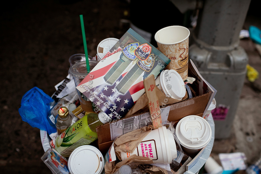 Garbage bins are full in Lower Manhattan, New York, USA,  on the 10th anniversary of the 9/11 attacks on the Word Trade Centre.
