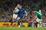 Cardiff, Wales, Great Britain, Full back, Scott SPEDDING, looking for  away around Conor MURREY, during the Pool D game, France vs Ireland.  2015 Rugby World Cup,  Venue, Millennium Stadium, Cardiff. Wales   Sunday  11/10/2015.   [Mandatory Credit; Peter Spurrier/Intersport-images]