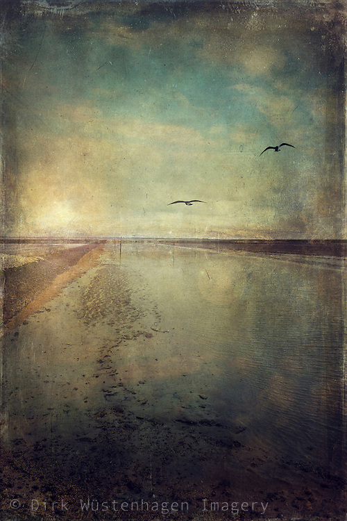 View of Waddensea/North Sea at low tide - digitally processed with textures to achieve a vintage look