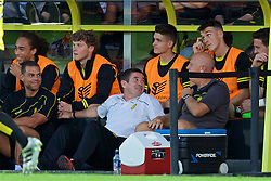 BURTON-UPON-TRENT, ENGLAND - Tuesday, August 23, 2016: Burton Albion's manager Nigel Clough sees the funny side after Liverpool's Roberto Firmino fell on top of him during the Football League Cup 2nd Round match at the Pirelli Stadium. (Pic by David Rawcliffe/Propaganda)