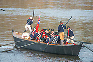 General George Washington as portrayed by John Godzieba, Langhorne Police Chief leads his troops as the go to cross the Delaware River during the dress rehearsal for Washington Crossing the Delaware  Sunday, December 08, 2019 at Washington Crossing State Park in Washington Crossing, Pennsylvania. The actual re-enactment takes place on Christmas Day, December 25, 2019.  (Photo by William Thomas Cain/CAIN IMAGES)