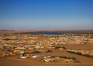 Sudan, Karima seen from Jebel Barkal. Nile river in the middle.
