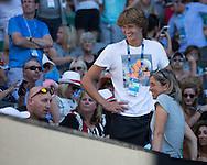 ALEXANDER ZVEREV (GER) , Mutter Irina und Fitness Coach Jez Green in der Spielerloge<br /> <br /> Australian Open 2017 -  Melbourne  Park - Melbourne - Victoria - Australia  - 22/01/2017.