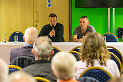 Forest Green Rovers manager, Mark Cooper and Forest Green Rovers Chairman Dale Vince addresses Forest Green Rovers fans forum at The New Lawn, United Kingdom on 22 September 2017. Photo by Shane Healey.