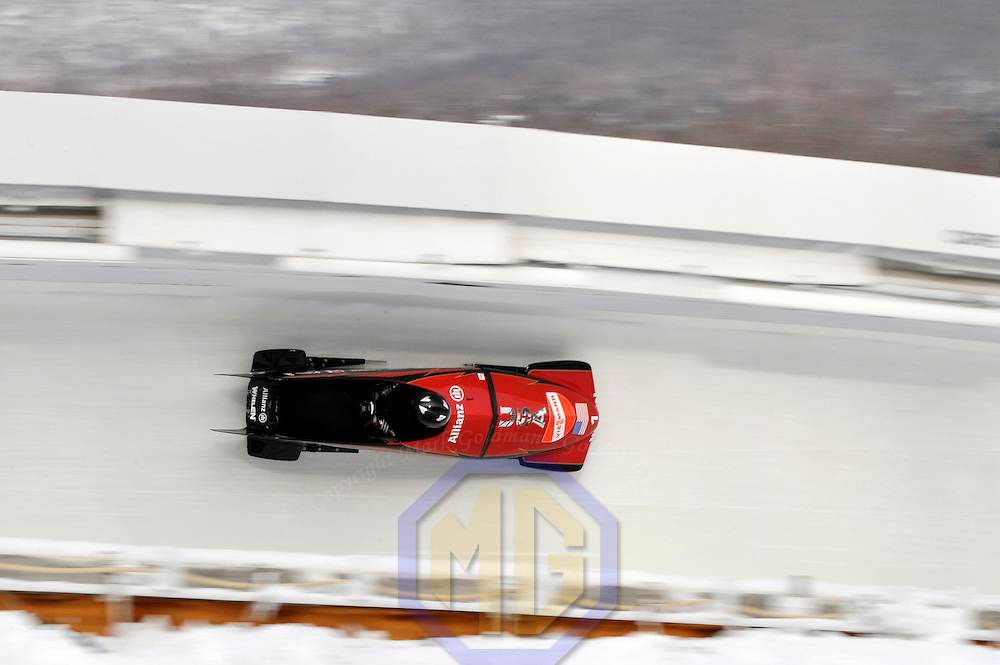 15 December 2007:  The USA 1 sled driven by Steven Holcomb with Curtis Tomasevicz on the brakes competes in the FIBT World Cup Men's 2-man bobsled competition on December 15, 2007 at the Olympic Sports Complex in Lake Placid, NY.   The USA 1 sled finished in 3rd place in the race which was won by the Canada 1 sled with a time of 1:50.64.