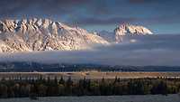Mount Moran at sunrise on a cold fall morning.