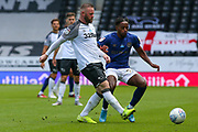 Wayne Rooney of Derby County  in action during the EFL Sky Bet Championship match between Derby County and Brentford at the Pride Park, Derby, England on 11 July 2020.