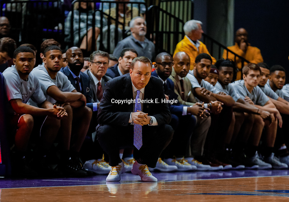 Jan 23, 2018; Baton Rouge, LA, USA; Texas A&M Aggies head coach Bill Kennedy against the LSU Tigers during the first half at the Pete Maravich Assembly Center. Mandatory Credit: Derick E. Hingle-USA TODAY Sports