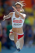 Anna Jagaciak from Poland competes in women's triple jump qualification during the 14th IAAF World Athletics Championships at the Luzhniki stadium in Moscow on August 13, 2013.<br /> <br /> Russian Federation, Moscow, August 13, 2013<br /> <br /> Picture also available in RAW (NEF) or TIFF format on special request.<br /> <br /> For editorial use only. Any commercial or promotional use requires permission.<br /> <br /> Mandatory credit:<br /> Photo by &copy; Adam Nurkiewicz / Mediasport